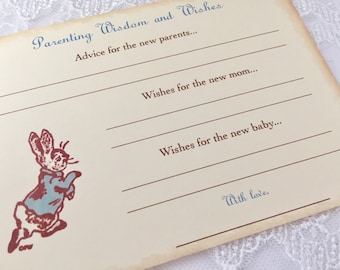 Parenting Advice Cards Peter Rabbit Baby Shower Activity Game Cards Baby Wishes Set of 10