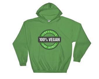 100% Vegan: Compassion over Cruelty. Green Hooded Sweatshirt