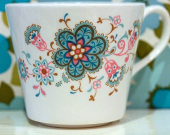 Pair of Vintage Retro China Cups and Saucers Turquoise and Fuchsia Retro Flowers