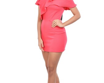 One shoulder Ruffle Bodycon dress by Westoutfit