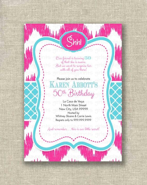 Items similar to Surprise 50th Birthday Invitation Invite Fuchsia