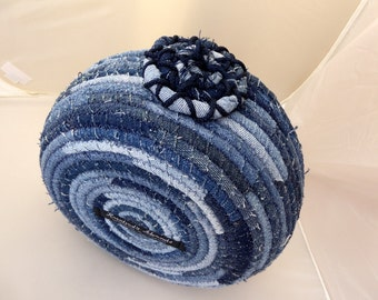 Repurposed Denim Coiled Rope Basket - Extra Large Fabric Bowl