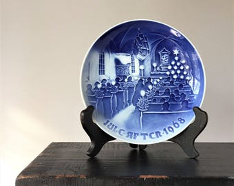 Bing and Grondahl Christmas Plate, Vintage 1968 Christmas in Church, Danish Collector's Plate, B&G Copenhagen Blue Porcelain
