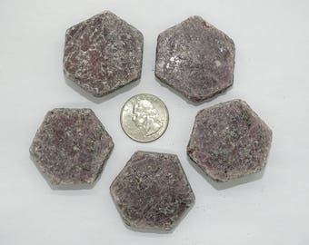 "Bulk lg. 1.40"" X 1.42"" Natural Hexagon Ruby Crystals #2B-5 PCS-Best price"