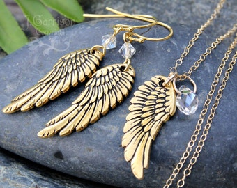 Gold angel wing necklace & earring set - gold plated wings, Swarovski crystals on 14k gold filled delicate chain and hooks