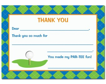 Golf Thank You Note Printable Instant Download - Mini Golf Collection