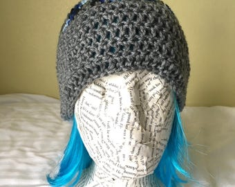 Gray/Multi-color Crocheted Beanie with Pom Pom, Child/Teenage/Adult Beanie