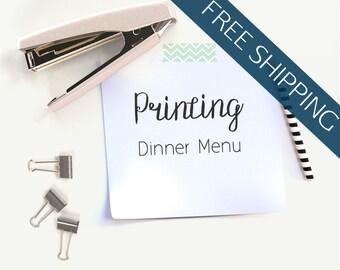 Printing Services // Dinner Menu