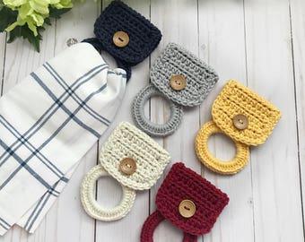 Kitchen towel holder / Hand towel holder / Hanging towel holder / Crochet towel holder / Kitchen towl hanger / Towel ring
