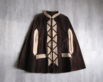 Vintage 1970's Brown Suede Cape / Poncho - size small