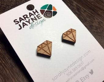Wooden Diamond Stud Earrings
