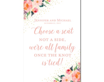 Printable Choose a Seat, Not a Side Wedding Sign - Wedding Sign - Seating Sign - Pick a Seat - Ceremony Sign - Wedding Poster #CL135