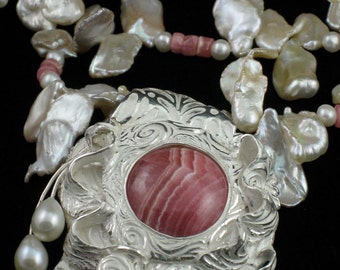 Fine Silver Rhodochrosite pendant necklace with fresh water pearls and crystals