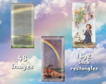 "Rainbows - Digital Download, 1"" by 2"" rectangles on 8.5 x 11 paper, printable images for pendants, bezel crafts"