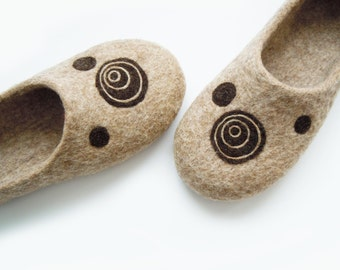 Eco friendly handmade felted slippers CIRCLES