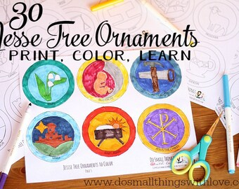 Jesse Tree Ornaments to Print and Color // 30 Ornaments // Advent Calendar