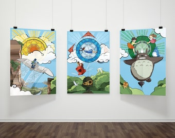 Studio Ghibli Nouveau Anime Film Tryptic \\ Nausicaa, Castle in the Sky, and Totoro \\ Stained-glass Style Illustrations