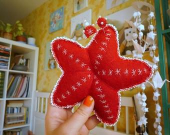 Starfish, sea star pincushion with 2 decorative pins, home decor ,soft  art  creature   by Wassupbrothers