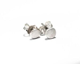 Stud earrings, oxidized sterling silver, 5mm pebble earrings, handmade ear studs, post earrings, recycled sterling silver