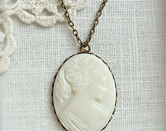 Vintage solid glass cameo pendant necklace.  Antique brass chain, choose your size chain.  ~2 left ~
