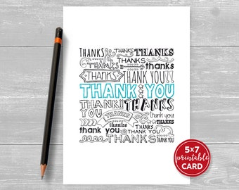 "Printable Thank You Card - Thanks and Thank You Said In Many Ways - 5""x7""- Includes Printable Envelope Template - Instant Download"