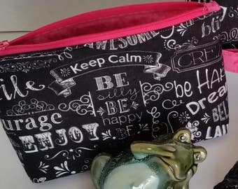 "Small zippered pouch / Accessory case with side tab ring - Black with white ""inspirational"" words / Pink interior"