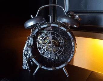 Industrial Mixed Media Assemblage Clock