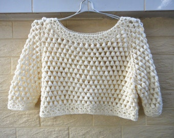 Cropped Sweater Boho Short Sleeve Crochet Sweater Gift for her