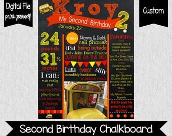 Wheels On The Bus Birthday Chalkboard - Second Birthday - Bus - Wheels On The Bus Second Birthday - Photo Chalkboard - Printable - Digital