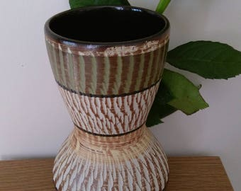 Attractive Vintage West German Textured Vase With Muted Colours