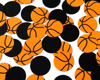 50 Basketball Confetti, Sports Party Decorations, Birthday Decor, Bright Orange and Black - No654