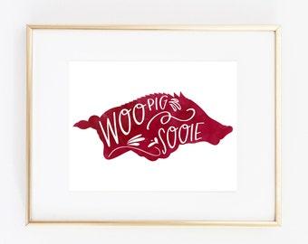 Woo Pig Sooie Arkansas Watercolor Print (8x10)