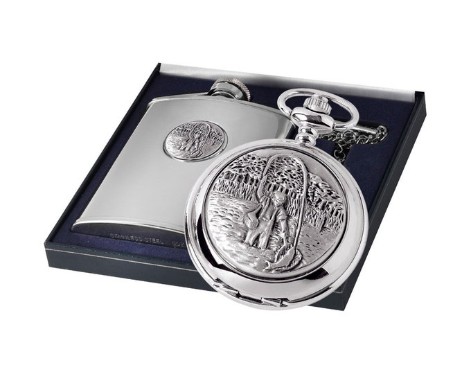 Personalised Sports Theme Quartz Pocket Watch & Hip Flask Gift Sets - Customised Engraved Message