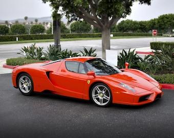 Ferrari Enzo Rosso Dino F60 F 60 Right Front Orange HD Poster Super Car  Print