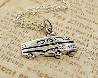 Camper RV Necklace, Sterling Silver Motorhome Charm on a Silver Cable Chain
