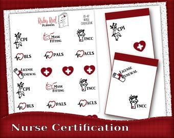 Nurse Stickers - Planner Stickers - Certification Stickers - Reminder Stickers - Erin Condren - Happy Planner - HS-42