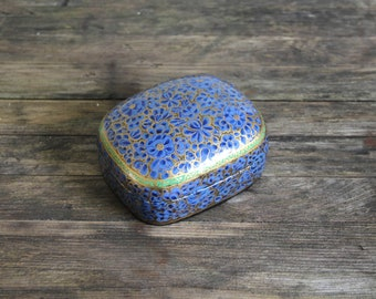 Papier Mache Box - Vintage Handmade Blue and Gold Floral Papier, Paper Mache Lidded Box - Accent Piece