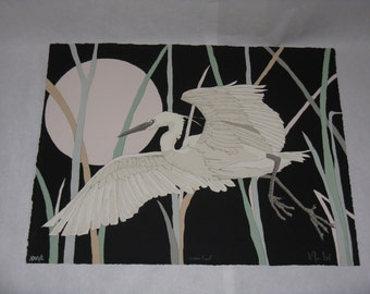 Sale Price! Large signed and numbered print Snowy Egret