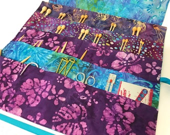 Large Knitting Needle Case/Organizer in 100% Batik Cotton (K152)