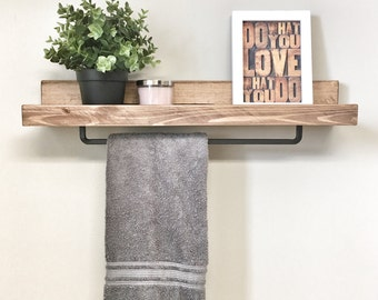 Rustic Wooden Rack Ledge Shelf, Ledge Shelves, Wooden Rack, Rustic Home Decor, Towel Rack Shelf, Bathroom Rack, Farmhouse Decor