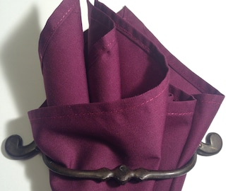 cotton pocket square Prune