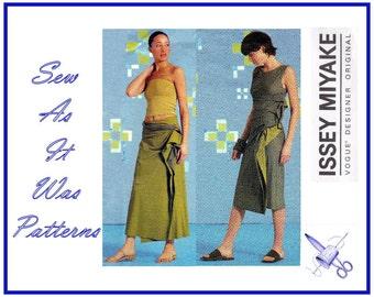 Vogue 2556 Uncut FF Issey Miyake Designer Original Sewing Pattern Front Drape Gather Dress Wrap Skirt Contrasts Size 14 16 18 Bust 36 38 40
