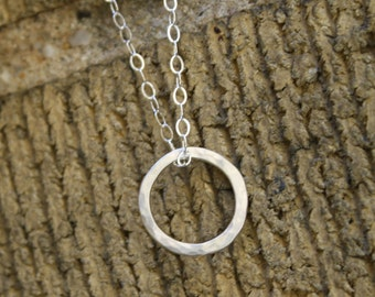 Minimalist Circle Necklace in Hammered Silver