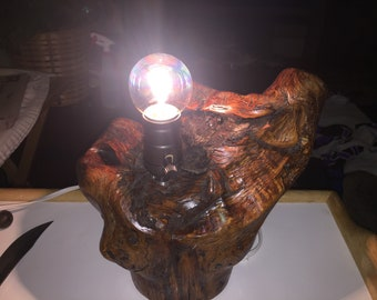 Lamp made from forest wood, beautifully accents any room.  Handmade and one of a kind..