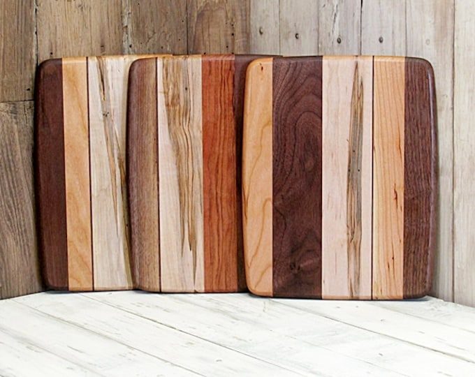 Wood Cutting Board, Small Size, Random Layout, Walnut, Cherry & Ambrosia Maple Wood