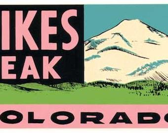 Vintage Style Pikes Peak Colorado mountains Travel Decal sticker