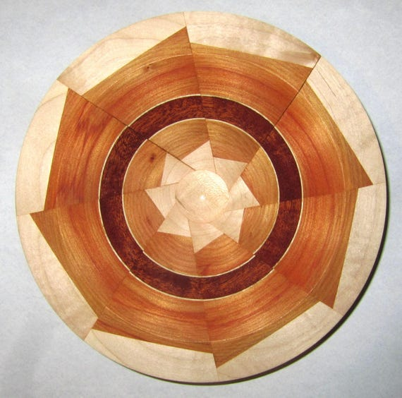"Turned Wood Segmented Bowl – ""Less Than Perfect"" – Segmented Pinwheel Design with Multiple Woods 42-17"