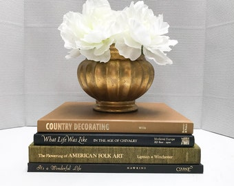 Brown and Black Coffee Table Books, Large Book Set, Coffee Table Decor, Shelf Decor