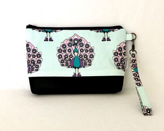 Evening Clutch Purse Wristlet with removable strap 2 slip pockets and zip closure.