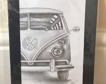Campervan pencil drawing